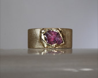 Solid gold band, Engagement gold ring for men,Wide band, Natural tourmaline ring, Rough gem band, 925 silver band ring.