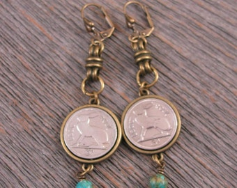 IRISH Coins - Coin Jewelry - Rabbit Coins - Three Pence - Bunny Earrings - Vintage Irish Rabbit Coin Earrings w/Turquoise - EASTER Idea