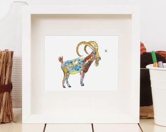 Ibex Art print- limited edition // Alpine // Mountain // Wall Art// 13 x 19, 11 x 14, 8 x 10, 5 x 7