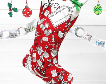 Colouring in Christmas Stocking - with 6 washable fabric pens
