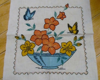 Vintage Embroidery Colored Backet of Flowers Pillow Front ready to be finished Great Colors