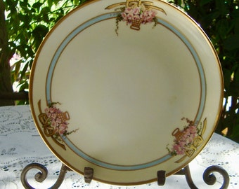 Vintage Hand Painted China Plate Three Pink Roses
