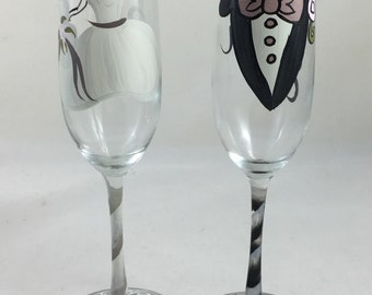 Bride and Groom Hand Painted Flutes