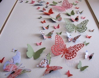 11X14 inch 3D Butterfly Art. Floral & Coral, Peach, Pistachio Moss Green or YOUR Choice of 3 Colors  / Butterfly Wall Art
