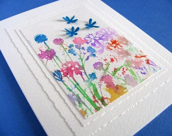 Watercolored Flower Garden with 3D Dragonflies on Creamy Ivory Card / Midnight Blue, Touch of Red, Purple, Green / A2 Size / Ready to Ship