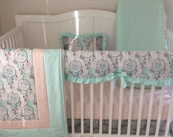 Boho Dreamcatchers Baby Girl Crib Bedding Set Mint Coral Gray