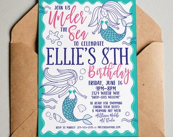 PRINTABLE Mermaid Ocean Girl Birthday Pool Party DIY Illustrated Fish Invitation