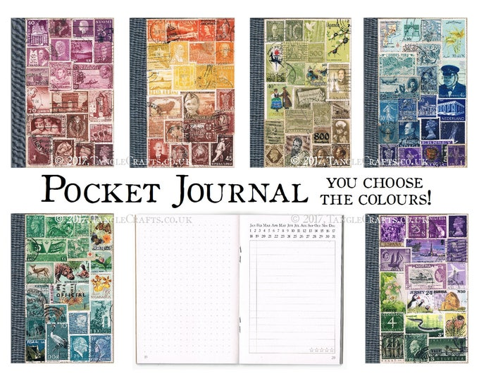Featured listing image: Pocket Journal, Adaptable Notebook - Custom Colour Stamp Art Collage