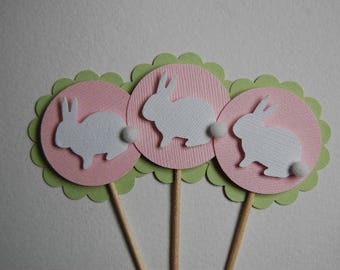 Green, Pink and White Bunny Rabbit Cupcake Toppers - Set of 6 - Spring-Easter-Baby Shower-First Birthday-Bunny Birthday-Pastel-Ready to Ship