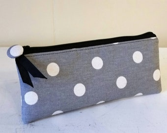 PEN & PENCIL Pouch Small zipper pouch in  delightful Grey Polka dots and black accents.