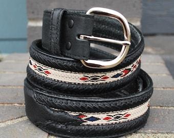 Vintage Wrangler Black Leather Southwestern Belt