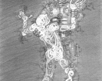 Steampunk Robot Illustration: 'An Unforeseen Legacy 2' - drawing for Murky Depths magazine, original pencil art, by Nancy Farmer