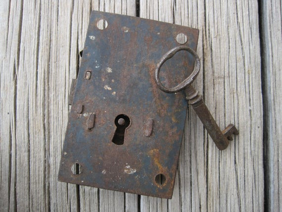 Key, Lock, Antique Cabinet Lock with Key, Vintage Lock Plate with ...