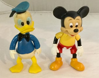 Vintage, 1970's, Mickey Mouse, Donald Duck, Vinyl Dolls, Walt Disney Productions