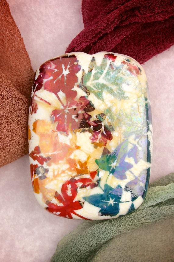 """SRA Lampwork Glass Beads """"Forest Floor""""  Handmade Sandblasted Iridescent Glass Tablet Focal Bead with Leaf Pattern"""