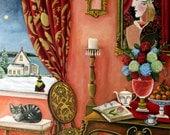 Original painting- The Poet's Dream- 16x20 Interior still life