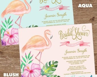 Tropical Bridal Shower Invitation | Bridal Shower Invite |Flamingo, Luau, Hawaiian, Aloha, Florida, Couples Shower