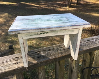 Vintage Shabby Distressed Bench--Farmhouse Decor--Step Foot Stool--Cottage Chic Kitchen Stool--Timeout Bench--Display Shelf or Riser