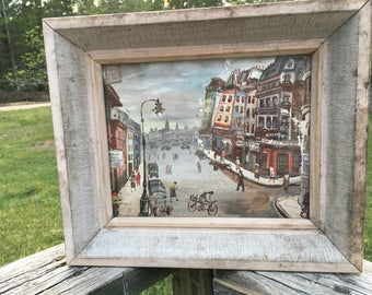 Vintage French Street Watercolor--Mid Century Paris Street Scene Painting--White Washed Wide Wood Frame--Boho Chic--Wall Group Decor--MCM