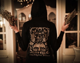 For Strange Women Botanical Hoodie printed on Organic Material featuring Bird, Florals, Mushrooms, Alchemy, Forest Magic