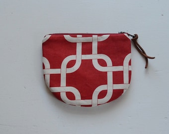 Red Gotcha Padded Round Zipper Pouch / Coin Purse / Gadget / Cosmetic Bag - READY TO SHIP