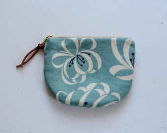 Blue Ribbon Floral Padded Round Zipper Pouch / Coin Purse / Gadget / Cosmetic Bag - READY TO SHIP