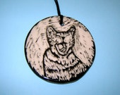 Smiling Tabby Kitty Cat – Stoneware Ornament – Yawning Kitten – Black and White – Gift for Pet Lover – Sgraffito Design