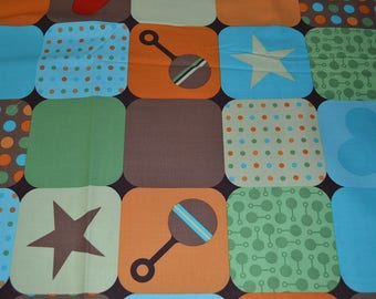 Baby Infant Fabric with Block Design (by the yard)  100% Organic Cotton by Robert Kaufman