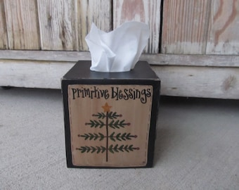 Primitive Christmas Feather Tree Hand Painted Tissue Box Cover GCC05094