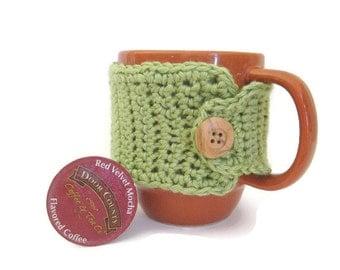 Ready To Ship - Crocheted Coffee Mug Cozy - Crocheted Green Cup Cozy - Crochet Mug Warmer With Button - Sage Green Cup Cozy