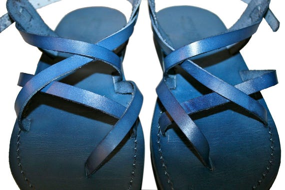 Blue Triple Leather Sandals for Men & Women - Handmade Sandals, Leather Flip Flops, Jesus Sandals, Unisex Sandals, Blue Leather Sandals