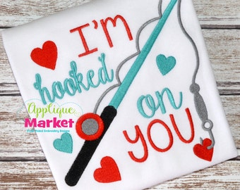 Machine Embroidery Design Embroidery Hooked on You INSTANT DOWNLOAD