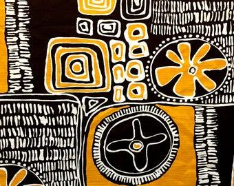 Cool 70s Take on 50s Tiki Chic Design// Hawaiian Tropical Fabric with Attitude// Cotton Yardage// Apparel// Home Decor// New Old Stock