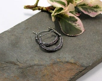 Viking knit Hoop earrings - Antiqued Sterling Silver wire hoop earrings
