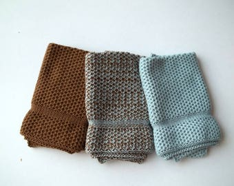 Dishcloths Knit in Cotton in Acorn and Cape Blue, Knit Dishcloth, Knit Washcloth, Cotton Dishcloth, Washcloth, Dishcloth