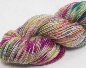 Hand dyed sock yarn, SW Exmoor Blueface, Polwarth, speckled yarn, fingering yarn, Knitter gift, Indie dyed yarn, Anna