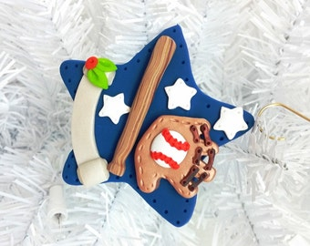 Baseball Christmas Ornament - Handmade Polymer Clay Baseball Ornament - Gift for Him - Baseball Stocking Stuffer - Baseball Coach - 1275