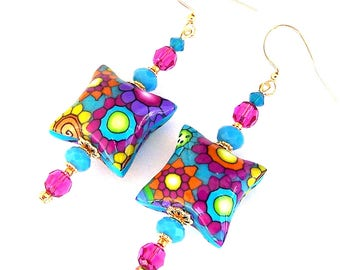 Psychedelic flower earrings, artisan polymer clay retro colorful earrings, fuchsia, turquoise, lime, 1960s mod starburst