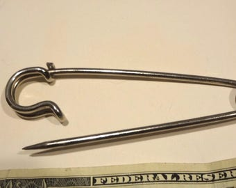 Vintage Giant Safety Pin Silver Tone 4  X  1 Inches For Sweaters Hats Skirts Jewelry