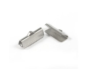 10 Stainless steel textured ribbon ends 20mm