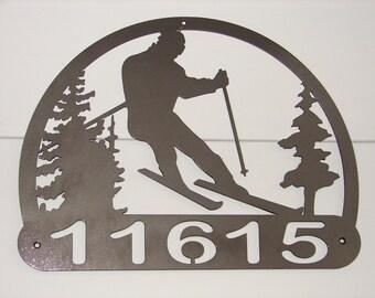 Custom Skier ADDRESS PLAQUE Metal Sign Personalized Name Ski Winter Skiing