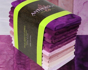 12 Fat Quarter Batik Bundle - Violet Red, Grape, Purple
