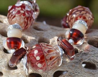 Reserve for Patrice-MERLOT-Handmade Lampwork and Sterling Silver Bracelet