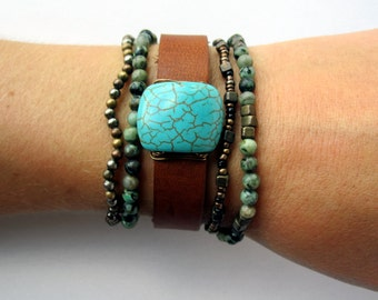 One of a Kind Polished Turquoise and Leather Bracelet - Handmade Bohemian Jewelry - Boho Layering Jewelry - Small