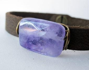 One of a Kind Polished Amethyst and Dark Leather Bracelet - Brass - Handmade Bohemian Jewelry - Boho Layering Jewelry - Medium