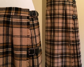 Plaid Skirt, Vintage Wool Plaid Skirt, Wool Kilt, James Dalgliesh Wrap Skirt Size 18, Vintage Skirt in Tan and Black Plaid, Tartan Kilt