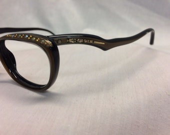 Cateye Glasses, Vintage Brown and Black Eyeglasses New Old Stock, Brown and Black with Rhinestones on Temples Ladies Cat Eye Glasses, NOS