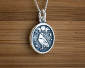 Small Raven and Triple Moon - STERLING SILVER - (Charm, Necklace or Earrings)
