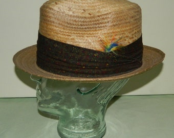 Size 7 60s Dobbs Wide Paisley Band Straw Fedora Hat Deadstock nos New Old Stock Dobbs Fifth Avenue Summer Straw Hat Mad Men Men's Hat