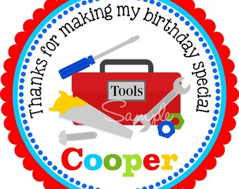 Construction Tool Box Stickers, Tools Birthday Party, Tools Stickers -Set of 12